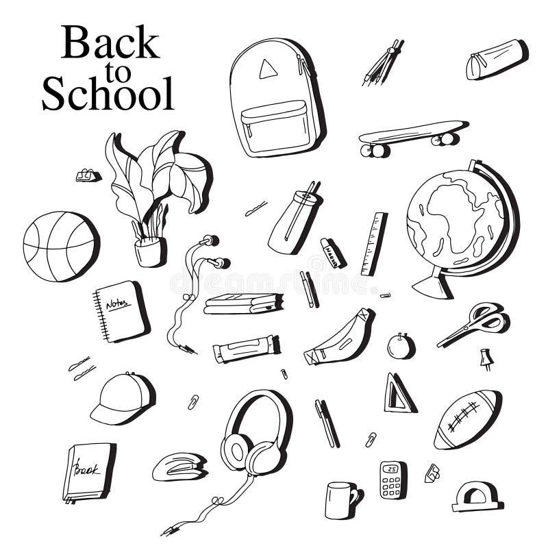 De volta aos elementos do esboço da escola Equipamento branco preto da educação: pena, caderno, ilustração do vetor da calculador ilustração stock