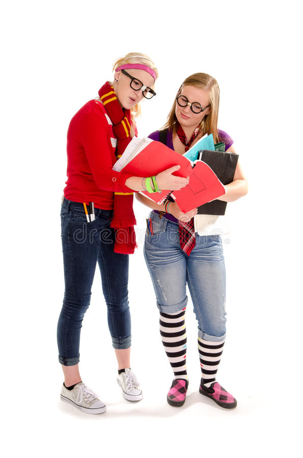 De volta aos estudantes adolescentes Geeky da escola fotografia de stock
