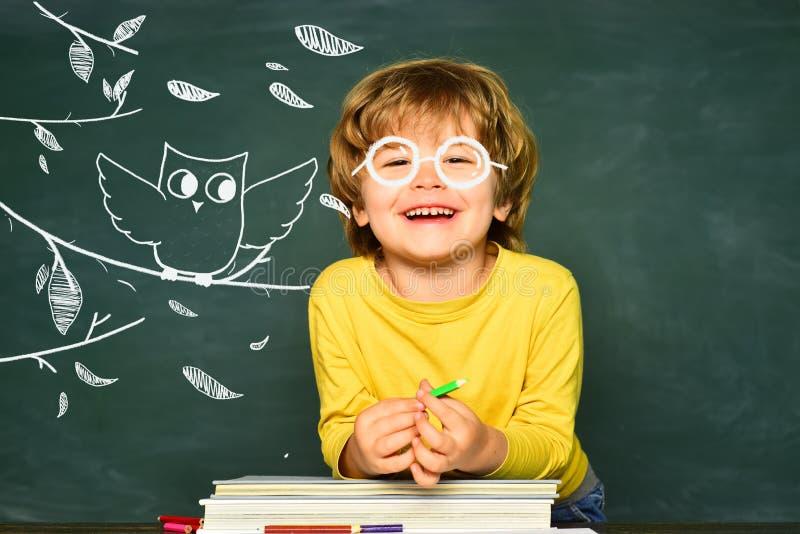 De volta ? escola e ao tempo feliz O aluno ou a crian?a em idade pr?-escolar aprendem Conceito da educa??o e da leitura Escola da fotografia de stock royalty free
