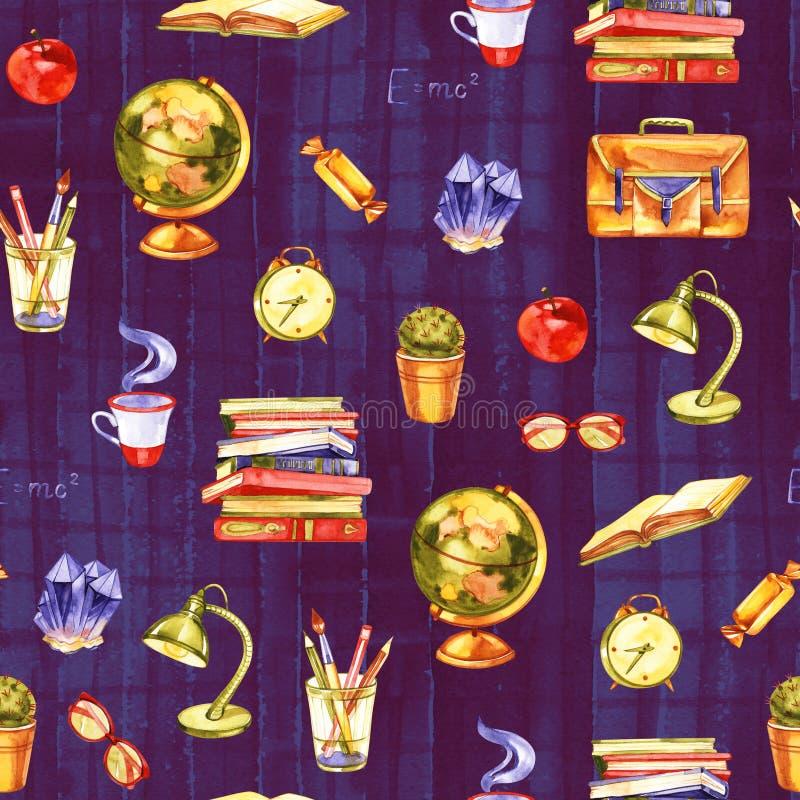 De volta ? escola Ilustração da educação da aquarela de volta a etiqueta escrita à mão da escola com folha de bordo da aquarela ilustração royalty free