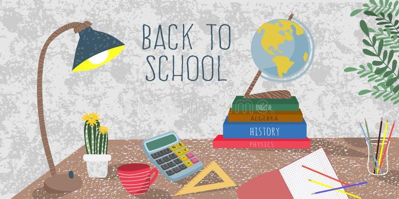 De volta ? escola Ilustração lisa bonito do vetor para o cartaz, fundo, bandeira ou cartão, desenho a mão livre da estudante ilustração stock
