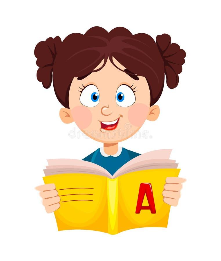 De volta ? escola Livro de leitura bonito da estudante ilustração royalty free