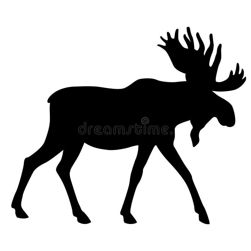 De volwassen Amerikaanse elanden gaan zwart silhouet vector illustratie