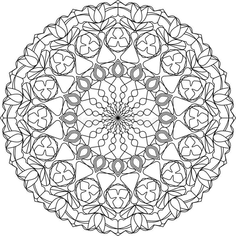 De volwassen kleurende pagina van cirkelmandala, met tulpenmotieven vector illustratie