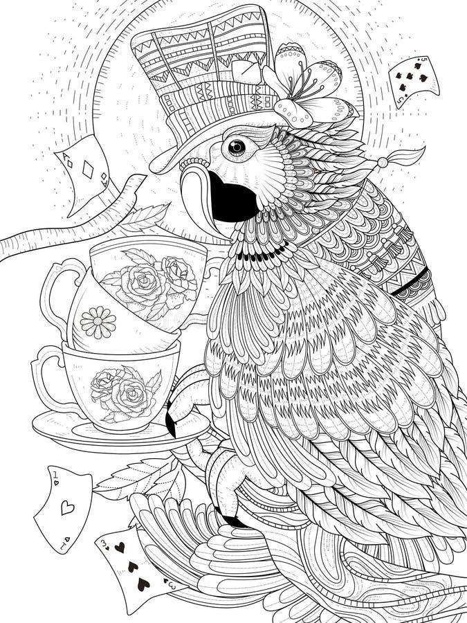 De volwassen kleurende pagina van de tovenaarpapegaai stock illustratie