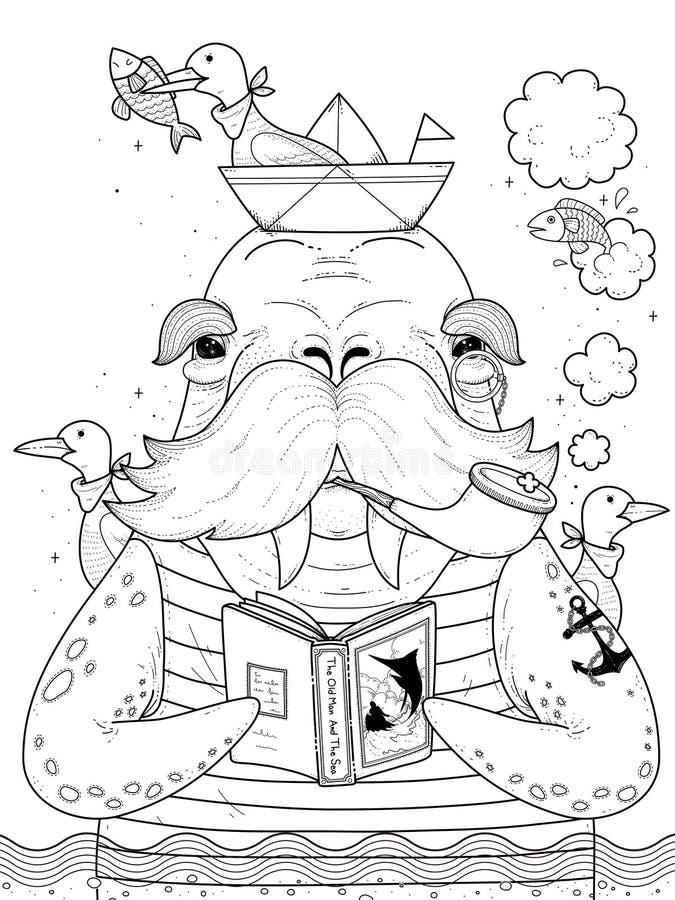 De volwassen kleurende pagina van de zeemanswalrus royalty-vrije illustratie