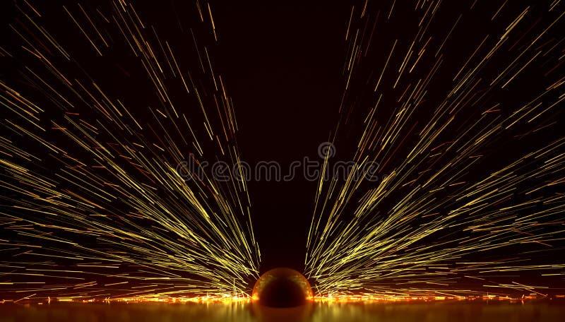 De vonkenbrand steekt energieexplosie aan lassend 3D illustratie royalty-vrije illustratie