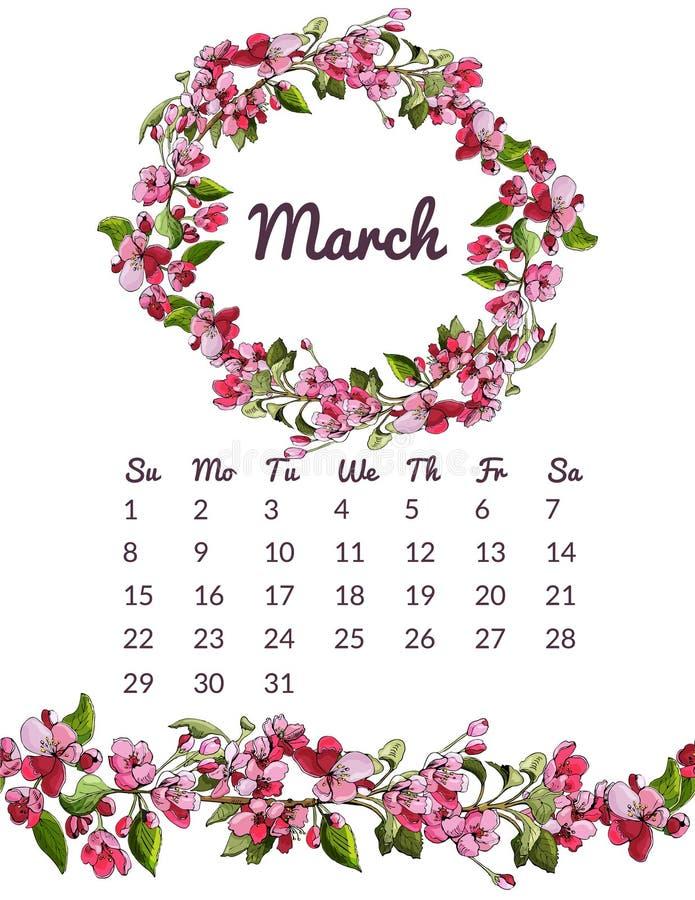 De voor het drukken geschikte botanische kalender 2020 met kroon en eindeloze borstel van roze malus bloeit en gaat weg Hand getr vector illustratie