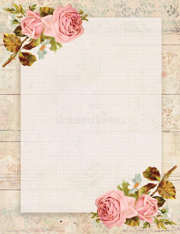 De voor het drukken geschikte uitstekende sjofele elegante stijl bloemen nam stationair op houten achtergrond toe stock illustratie