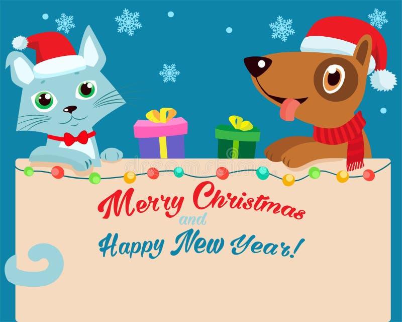De vooravond van Kerstmis Gelukkig Beeldverhaal Cat And Dog Friendship With Santa Hat Vector Achtergrond van de de Vakantiewinter stock illustratie