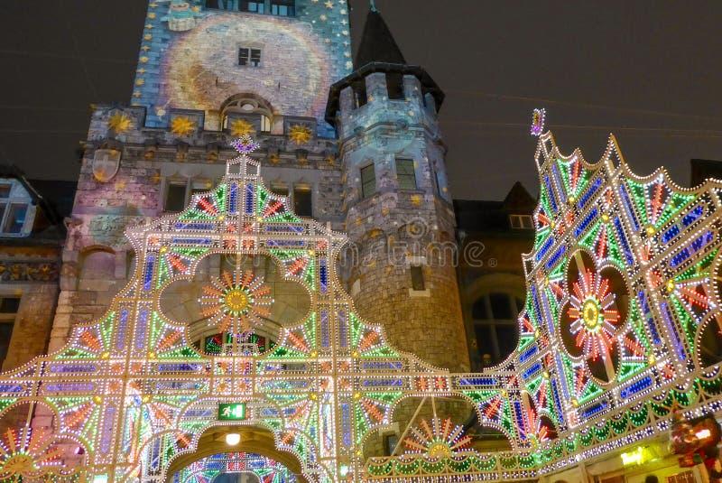 De Vooravonddecoratie van Kerstmis in Zürich, Zwitserland royalty-vrije stock foto's