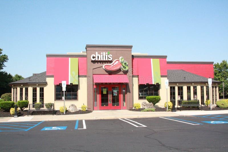 De voordeur van Chilisresturant stock fotografie