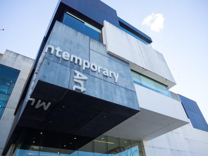 De voorgevel bouw van het Museum van Eigentijdse Art Australia-MCB is het belangrijke museum van Australië gewijd aan het tentoon stock fotografie