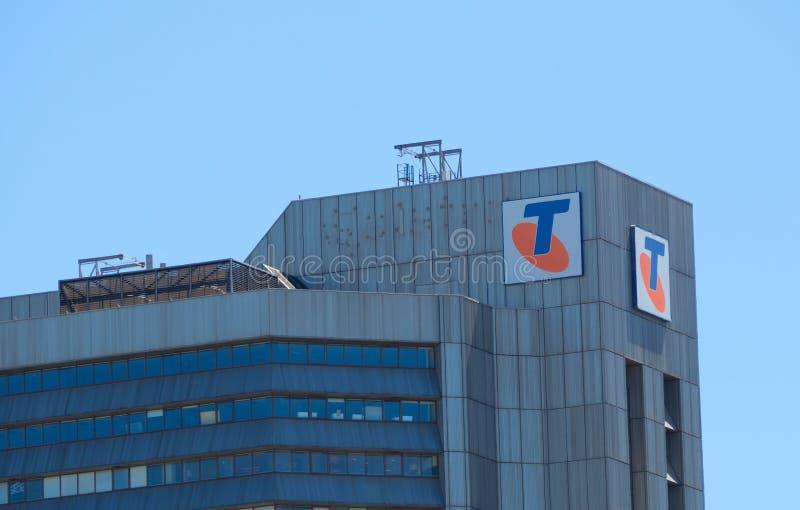 De voorgevel bouw van Telstra Corporation Limited is van Telecommunicatie Australië grootste bedrijf stock afbeelding