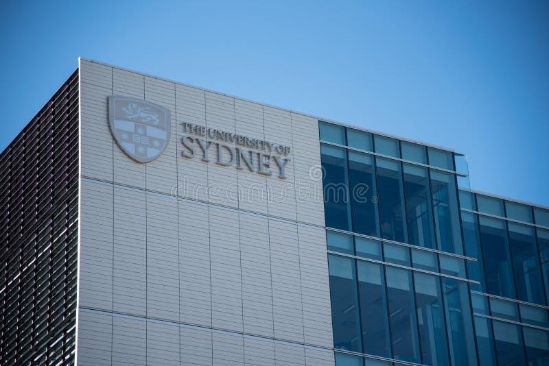 De voorgevel bouw van Universiteit van Sydney, het is de eerste universiteit van Australië en als één van het leiden van de werel royalty-vrije stock fotografie