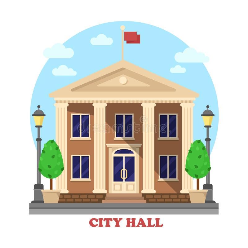 De voorgevel van de stadhuisarchitectuur van de bouw van buitenkant royalty-vrije illustratie