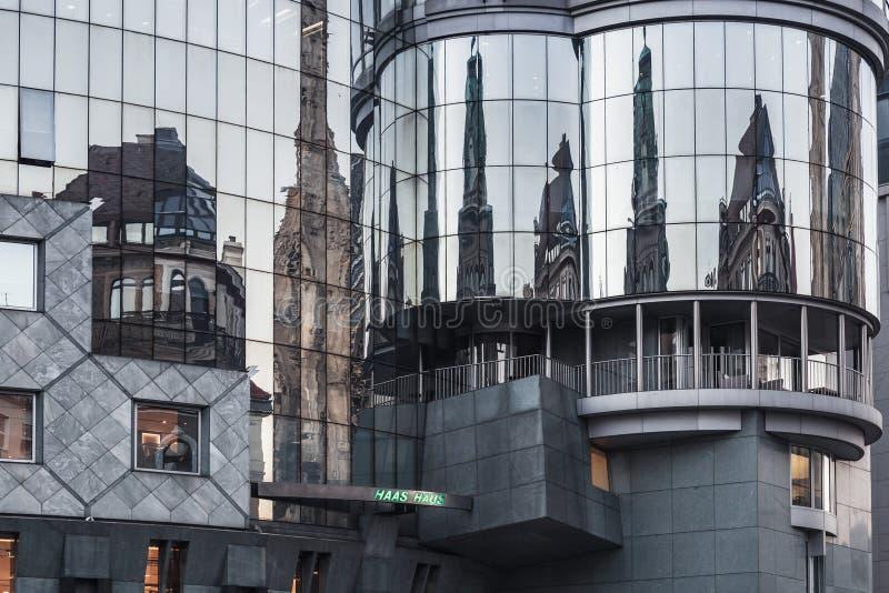 De voorgevel van het Haashuis, Wenen, Oostenrijk stock foto's