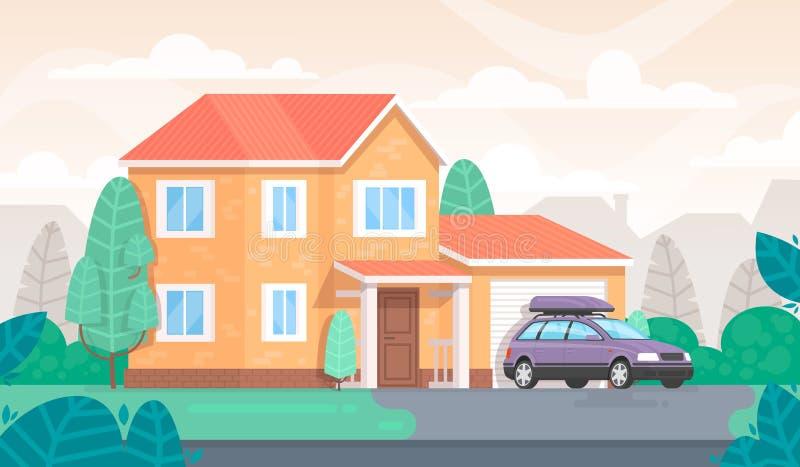 De voorgevel van het huis is met een garage en een auto plattelandshuisje vector illustratie