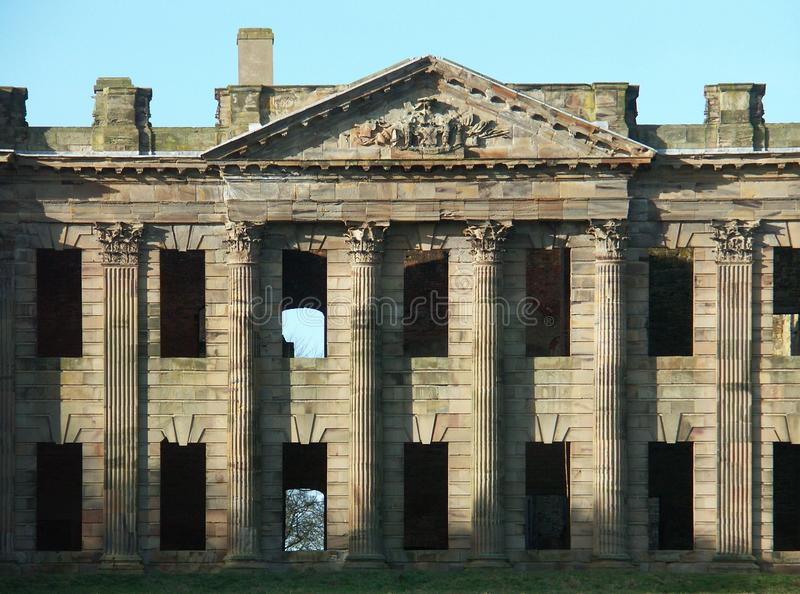De voorgevel van het oosten, Sutton Hall, Sutton Scarfield, Derbyshire, Engeland stock afbeelding