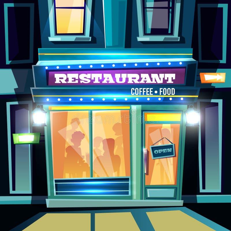 De voorgevel van het stadsrestaurant bij de vector van het avondbeeldverhaal stock illustratie