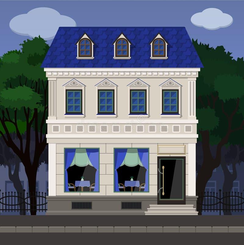 De voorgevel van de koffie in een oud klassiek gebouw op de achtergrond van het park stock illustratie