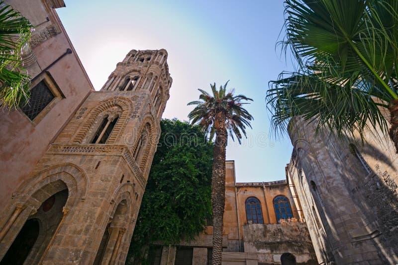 De voorgevel van de Martorana-kerk in Palermo, met zijn beautifu stock foto