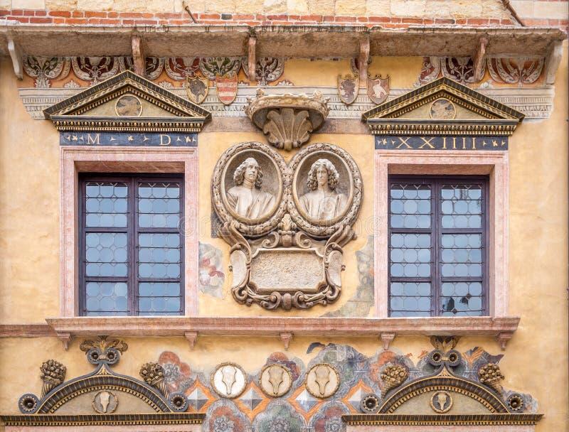 De voorgevel van Ragione van Palazzodella het vroegere Stadhuis, Verona, Italië, Veneto royalty-vrije stock foto