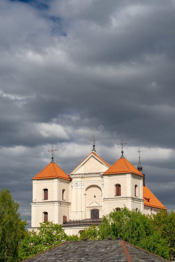 De voorgevel van Trakai-Basiliek van Maagdelijke Mary Visit in Litouwen stock foto