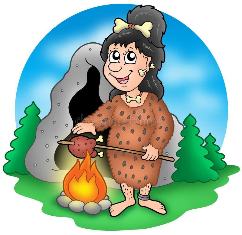 De voorhistorische vrouw van het beeldverhaal vóór hol vector illustratie