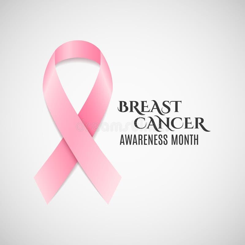 De voorlichtings roze lint van borstkanker Donkere tekst Het vechten kanker Vector stock illustratie