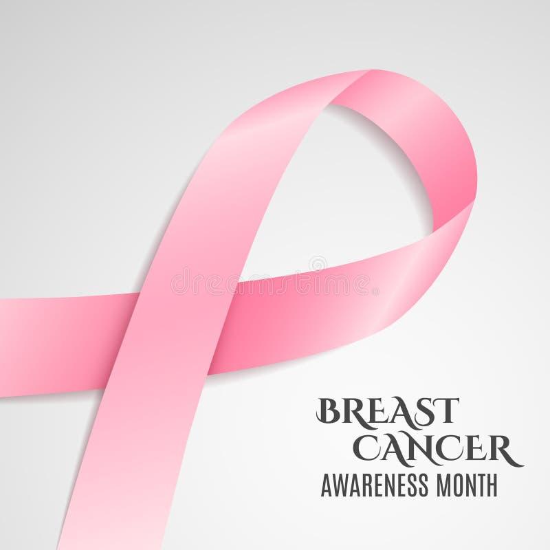 De voorlichtings roze lint van borstkanker Donkere tekst Lichte achtergrond Het vechten kanker Vector vector illustratie