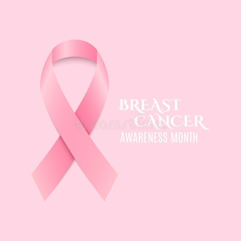 De voorlichtings roze lint van borstkanker Donkere tekst Lichtrose achtergrond Het vechten kanker Vector stock illustratie