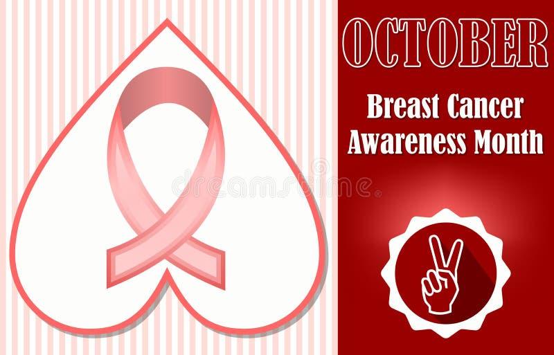 De voorlichtingsmaand oktober van borstkanker Hoopvol pamflet of etiketmalplaatje royalty-vrije illustratie