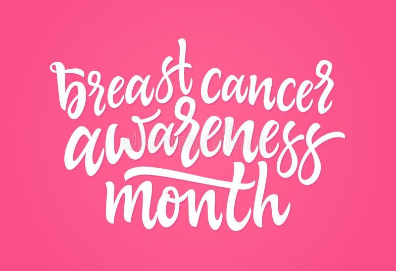 De voorlichtingsmaand van borstkanker - het vectorhand getrokken borstelpen van letters voorzien stock illustratie