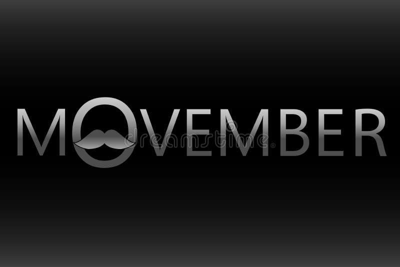De voorlichtingspictogram van Movemberkanker op zwarte achtergrond stock illustratie