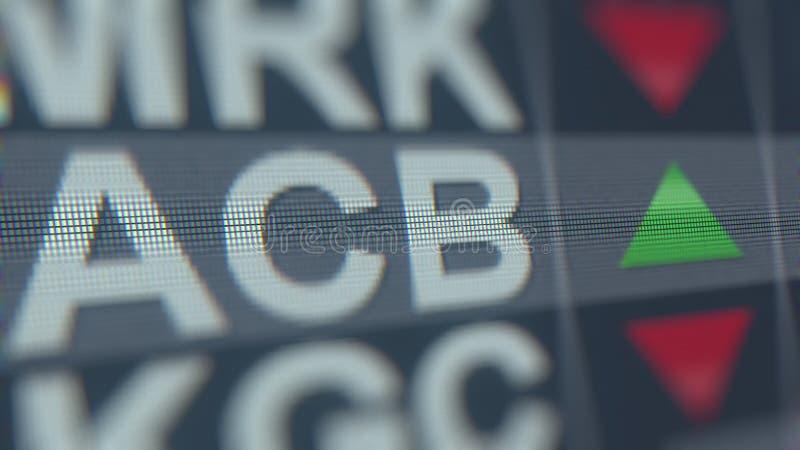De voorraadticker van de DAGERAADcannabis ACB, het conceptuele redactie 3D teruggeven vector illustratie
