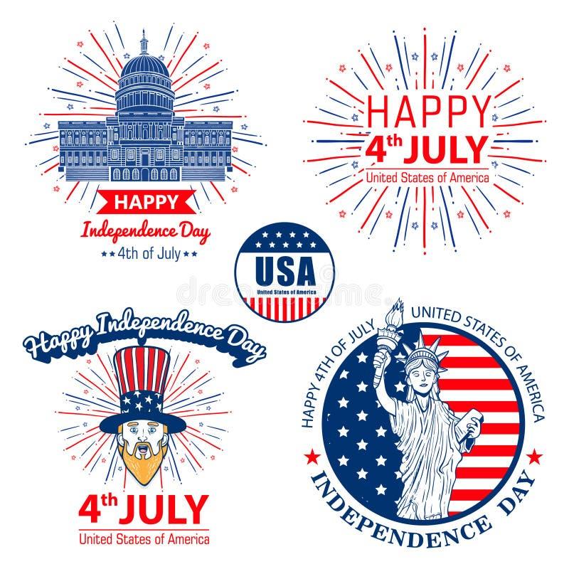 De voorraadvector vooruit van juli verenigde verklaard van het de vieringsetiket van de onafhankelijkheidsdag het embleemontwerp royalty-vrije illustratie