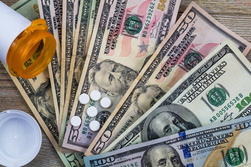 De voorschriftdrugs in de V.S. zijn duur, concept, Rx op Amerikaanse dollars, vlak leg stock foto