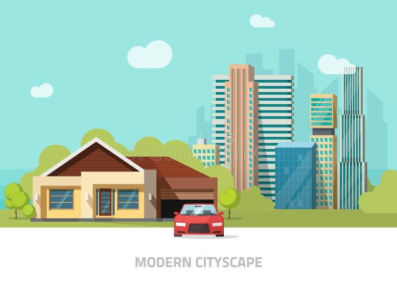De voorstadmening, stadsgebouwen achter plattelandshuisjehuis huisvest vectorillustratie, moderne cityscape vlakke stijl royalty-vrije illustratie