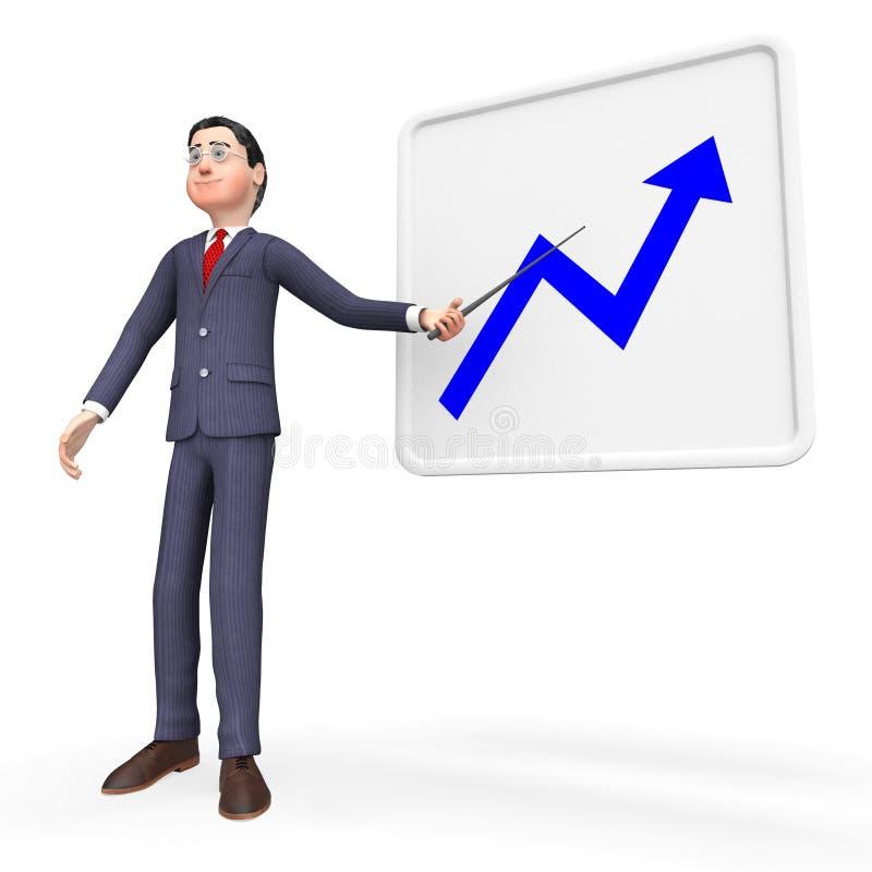De vooruitgangsgrafiek vertegenwoordigt Verbeteringstendens en Investering stock illustratie