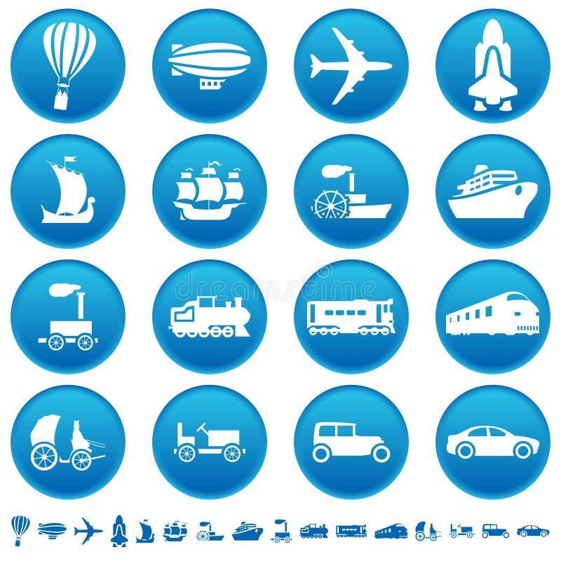 De vooruitgangspictogrammen van het vervoer royalty-vrije illustratie