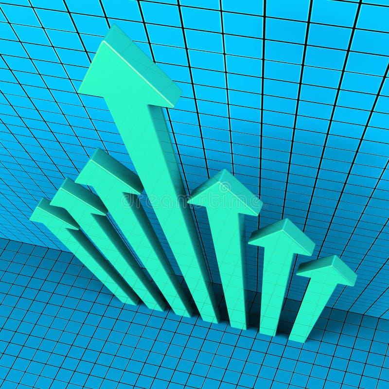 De vooruitgangspijlen toont Financieel verslag en Analyse royalty-vrije illustratie