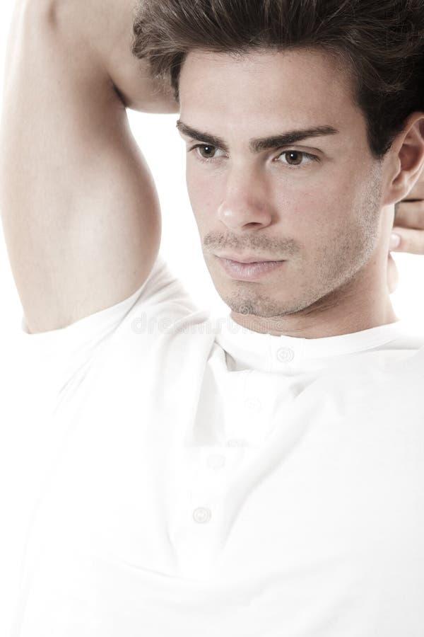 De vooruitziende/Denkende mens ISO van de kerel witte t-shirt stock foto