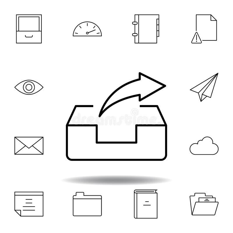 De voorwaartse doos e-mail verzendt overzichtspictogram Gedetailleerde reeks unigridillustratiespictogrammen van verschillende me stock illustratie