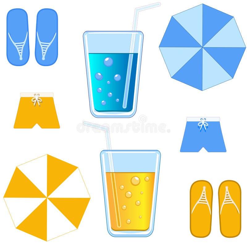 De voorwerpen die naar de zomervakantie verwijzen koppelen de rust van ` s vector illustratie