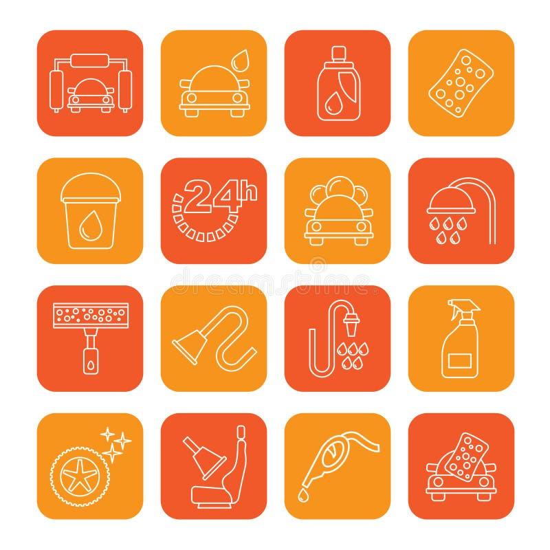 De voorwerpen en de pictogrammen van de lijnautowasserette stock afbeeldingen