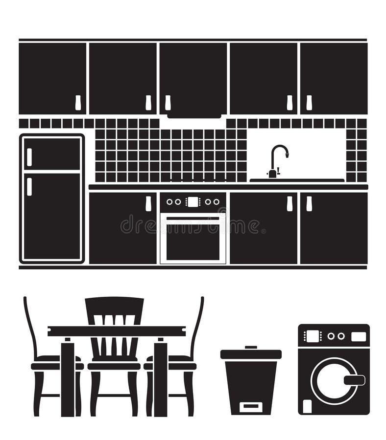 De voorwerpen, het meubilair en de apparatuur van de keuken vector illustratie
