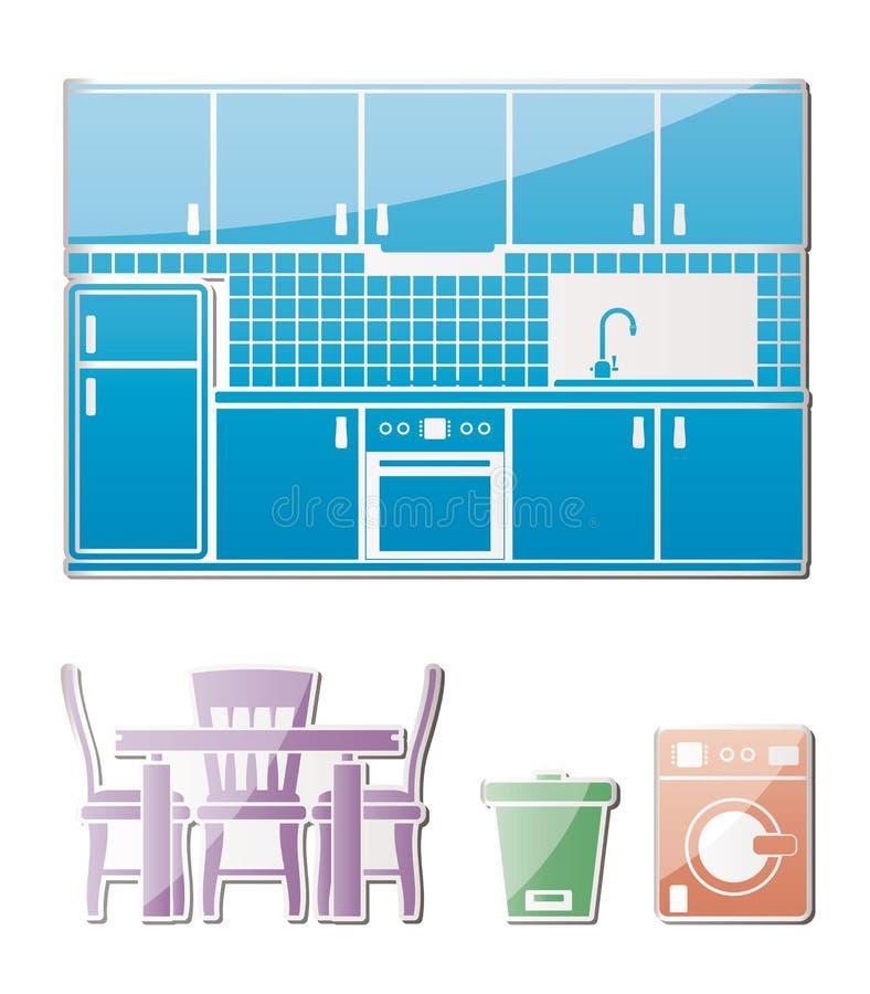 De voorwerpen, het meubilair en de apparatuur van de keuken royalty-vrije illustratie