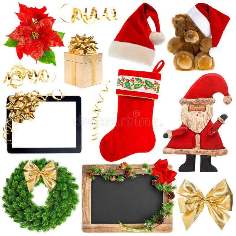 De voorwerpen van de Kerstmisdecoratie op wit worden geïsoleerd dat royalty-vrije stock afbeelding