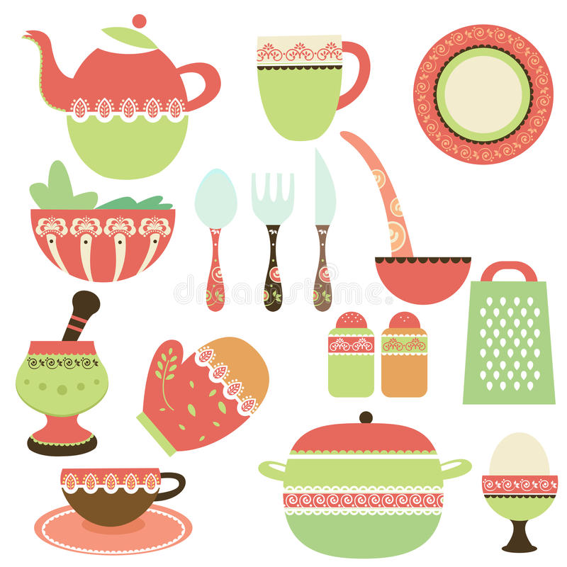 De voorwerpen van de keuken royalty-vrije illustratie